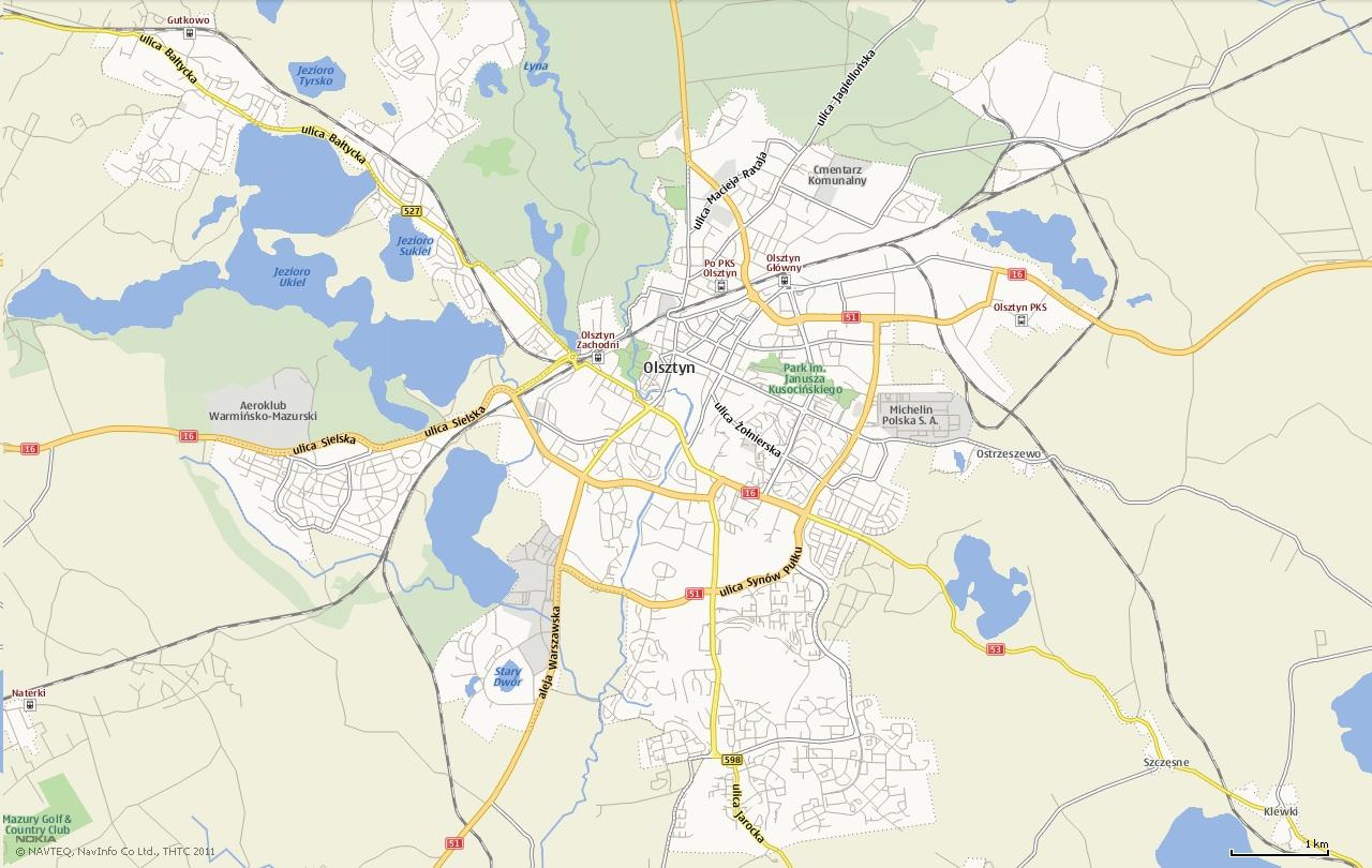 Mapa Olsztyn