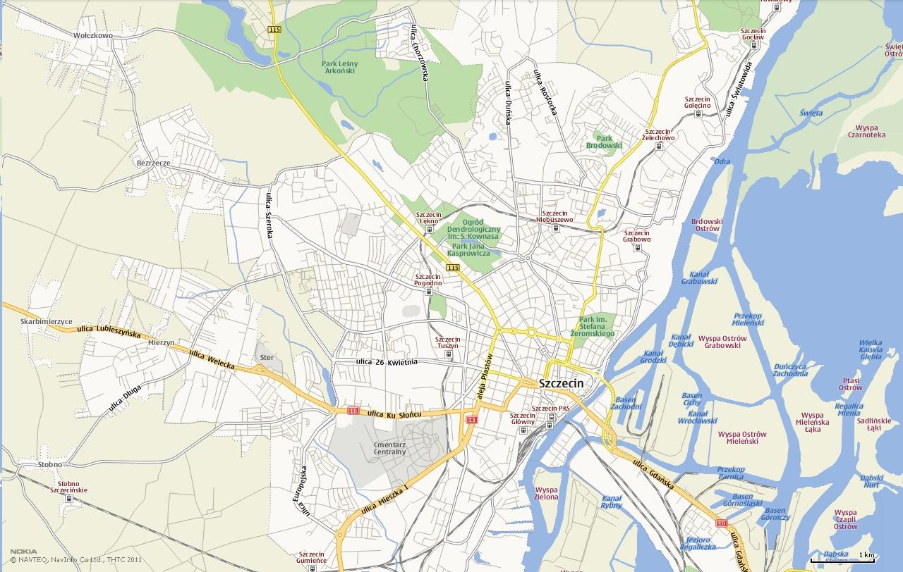 Mapa Szczecin