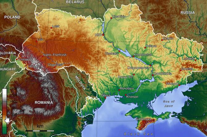 mapa geograficzna ukrainy