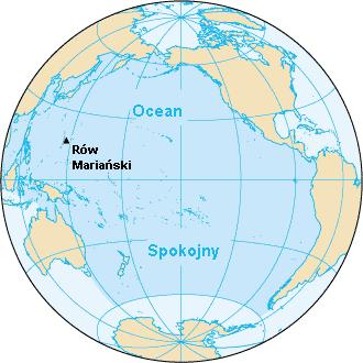 Ocean Spokojny z zaznaczonym Rowem Mariańskim.