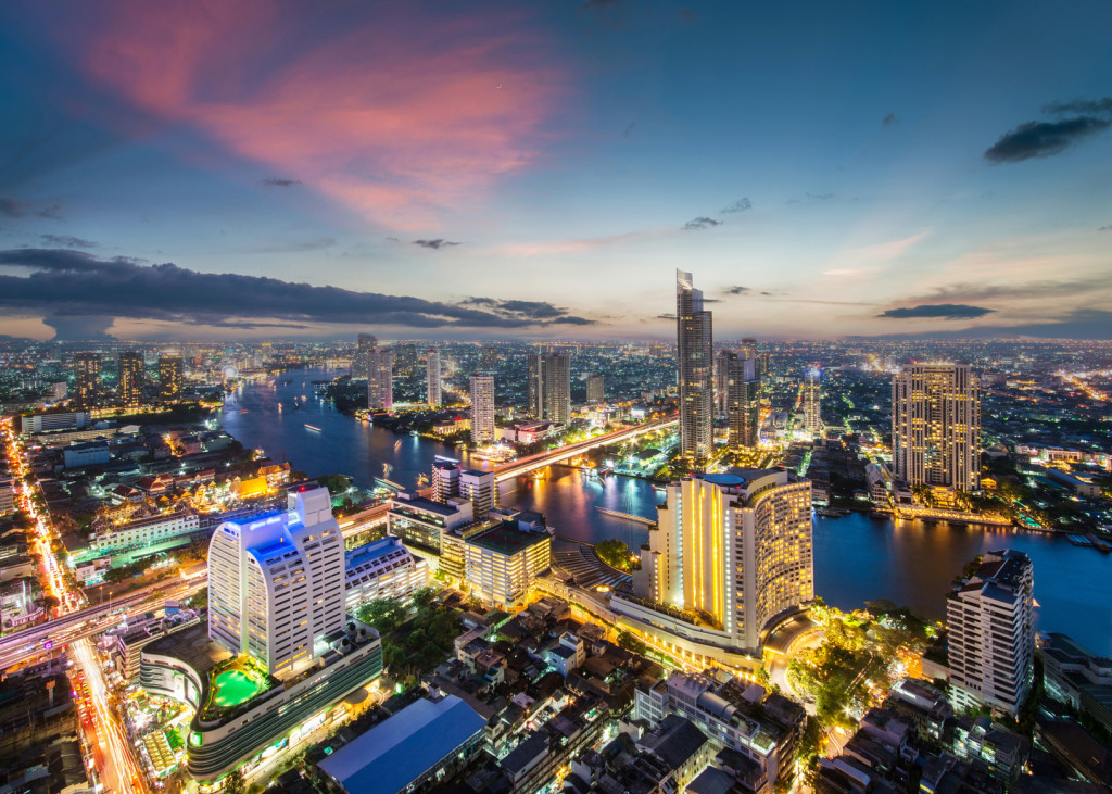 Bangkok city skyline while sunset