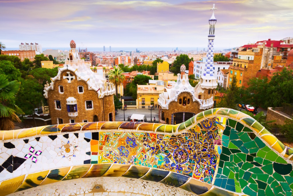 View of Park Guell in Barcelona. Catalonia, Spain